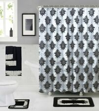 18 Piece Shower curtain set with Geometric design Made of 100%polyester(Rowland)