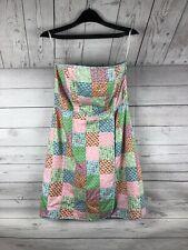 Vineyard Vines Shep & Ian Dress Womens Size 8 Strapless Patchwork Nautical Print