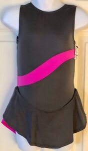 GK ICE FIGURE SKATE GIRLS X-SMALL SLVLS GRAY PINK NYLON/LYCRA TANK DRESS Sz CXS