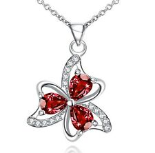 "Silver Tone Love Ruby Red Crystal Flower Pendant Necklace 18"" Chain Gift Box S3"