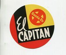 Vintage Advertising Label SANTA FE RAILROAD EL CAPITAN train
