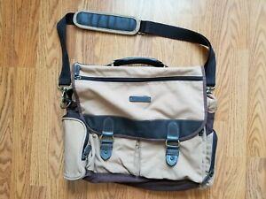 Vintage Eddie Bauer Tan/Khaki Canvas Leather Messenger Crossbody Bag Satchel