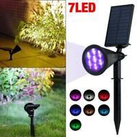 7 LED Solar Spot Light Wall Outdoor Garden Yard Path Lamp Ground Waterproof Lamp