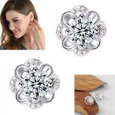 925 Sterling Silver Earrings Flower Women Crystal Stud Studs Ear Jewellery Gift