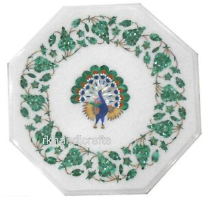 12 Inches Marble Corner Table Top Inlay with Beautiful Peacock Art Coffee Table