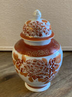 Vintage Small Ginger Jar with Lid  Orange & White Floral Gold Accents Japan
