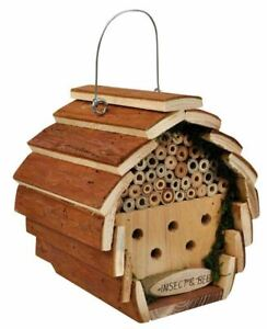 HANGING WOODEN INSECT & BEE HOTEL HOUSE BOX NEST BUG LADYBIRD GARDEN (HOTEL2)
