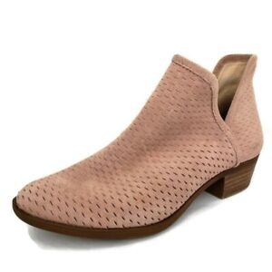 Lucky Brand Womens Baley Blush Pink Suede Perforated Ankle Booties  Size 7.5 M