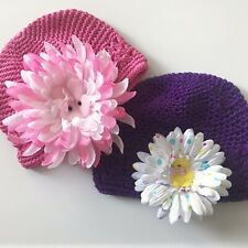 Baby Girl's Easter Hats Crochet Knit Cap Clip On Flowers Bunny Chick Pink Purple