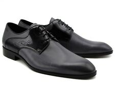 *229 UK 7 MEN'S GREY REAL LEATHER SMART SHOES LACE UP OFFICE WORK WEDDING EU 41