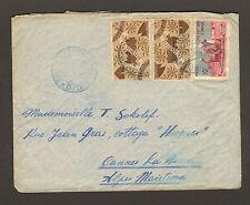RARE SOMALI DJIBOUTI - COTE FRANCAISE DES SOMALIS 1949 STAMP LETTER 2F, 2F, 10F