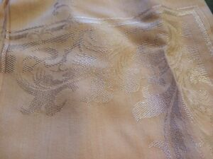 Vint Linnen Tableclth  Table Cover White On Peach Satin Made In Japan