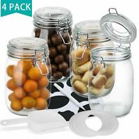 4-Piece 34oz- Wide Mouth Mason Jars- Airtight Glass Preserving Jars with Leak