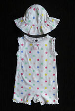 Baby clothes GIRL 6-9m TU spotted dress-style sleeveless romper+sun hat SEE SHOP