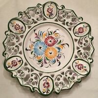 "Vtg Plate Hand Painted Reticulated Edge Decorative Wall Hanging 11 1/2"" Portugal"