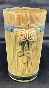 """Weller Pottery Woodrose Barrel Vase 7"""" Tall Excellent Used Condition"""