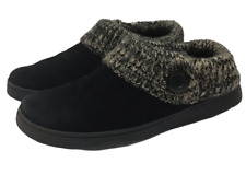 Clarks Womens Sz 9 Suede Leather with Knit Top Scuff Slippers Mule Clogs Black