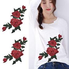Coser Rojo Rose Flor Apliques Escote Bordado Parche Bordado Flor De Tela