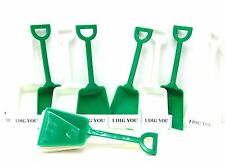 12 6 ea Green & White Small Toy Shovels & I Dig You Stickers Made in USA No BPA*