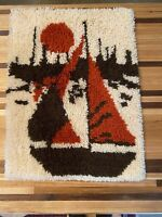 Hand Hooked Wool Shag Rug Mid Century Modern Wall Hanging Vintage Colors