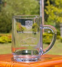 "Porsche Service Training 5"" Tall Etched Clear Glass Mug Cup"