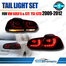 Pair fit VW Golf MK6 2009-2012 – LED Tail Lights for GTI/TSI/TDI - Red Smoked