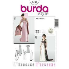 Burda Sewing Pattern 2493 Josephine Empire Puff Sleeves Dress Size 10-22 UC New