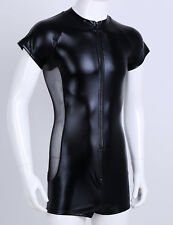 Spandex Zentai Costume Catsuit Metallic Men Black Zipper Leotard Bodysuit M-XXXL