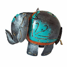 "Elephant T-light Holder in Grey Painted Metal for Standing or Hanging 9""x 6""high"