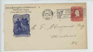 Mr Fancy Cancel Lewis & Clark Centennial Portland Oregon 1905 Entire #2048