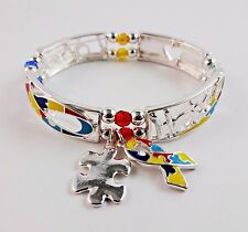 Autism awareness bracelet stretchy puzzle piece colorful love hope adjustable