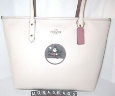b6ba2e017f2 Coach 38691 Disney Minnie Mouse Patch Chalk Leather City Zip Top Tote NWT   325