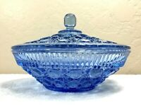 Vintage Federal/Indiana Glass Windsor Blue Button & Cane Covered Candy Bowl
