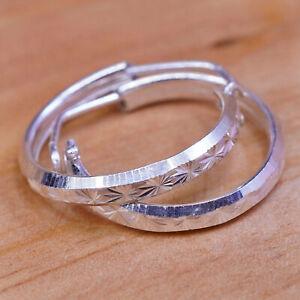 """0.75"""", 2.3g, 14K gold minimal simple hoops huggie, textured white gold earrings"""