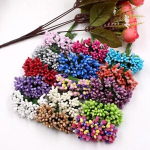 Party Artificial Flower Stamen Diy Wreath Decor Wire Stem Fake Leaves 12 Pcs/lot