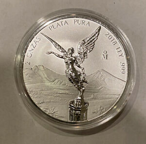 2018 Mexico 2 oz Silver Libertad REVERSE PROOF Coin in Capsule Low Mintage