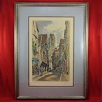 Vintage PRINT Hand Tinted Original La Rue' Dami'ette France 1927 Framed & Matted