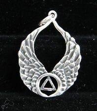 Sterling Silver Alcoholics Anonymous AA Symbol Wings Pendant Jewelry Sobriety