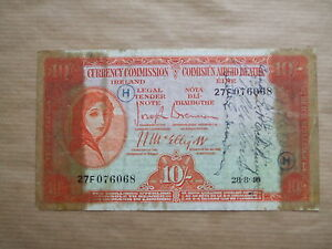 LADY  LAVERY  10 SHILLINGS,  1940, SHORT SNORTER  NOTE,  WAR  CODE  H.