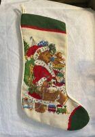 Vtg Imperial Elegance Needlepoint Christmas Stocking Teddy Bear