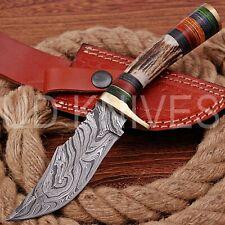 8 INCH UD CUSTOM DAMASCUS STEEL HUNTER KNIFE Stag/ANTLER  HANDLE B7-11542