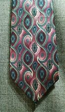 """HALSTON Medallion Red Silver Gray Abstract Tie  4 x 59"""""""