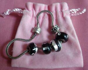 Rhona Sutton Silver Charm Bracelet Black & Silver Beads like pandora