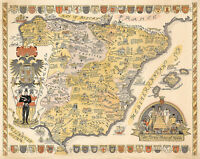 Pictorial Story Map of Spain Wall Art Poster Print Decor Vintage Style History