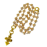 Auth CHANEL CC Long Imitation Pearl Necklace Gold-Tone 04P Accessory 66EP655