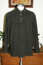 True Grit 2XL Cotton Textured Fleece 3 Button Pullover Dark Gray USA  EUC!!
