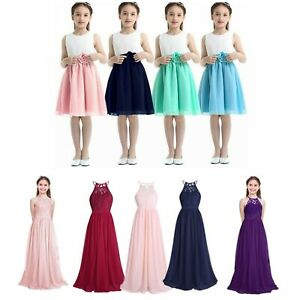 Kid Girls Formal Party Dress Long Gown Princess Pageant Wedding Skirt Costumes