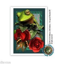 © ART - green tree FROG & red roses - Original Artist Print by Di