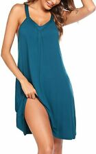 Ekouaer Nightgown Womens Sleeveless Sleepwear V Neck Racerback Sleep Dress S-XXL