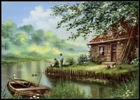 Evening Fishing - Chart Counted Cross Stitch Patterns Needlework 14 ct Aida